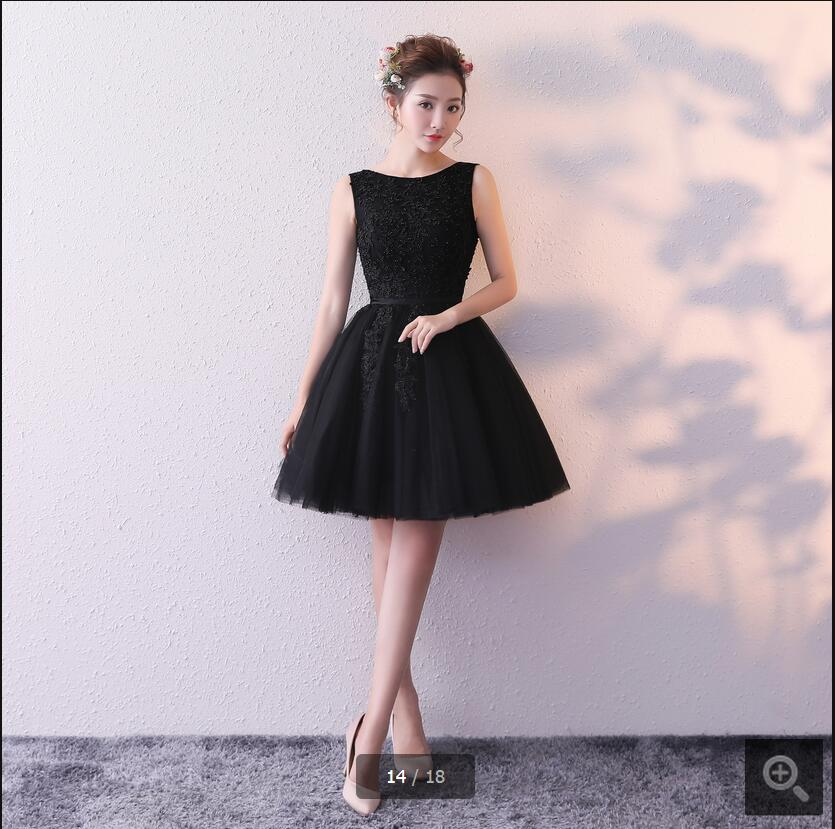 New Arrival Little Black Short Lace Appliques Prom Dress Sleeveless