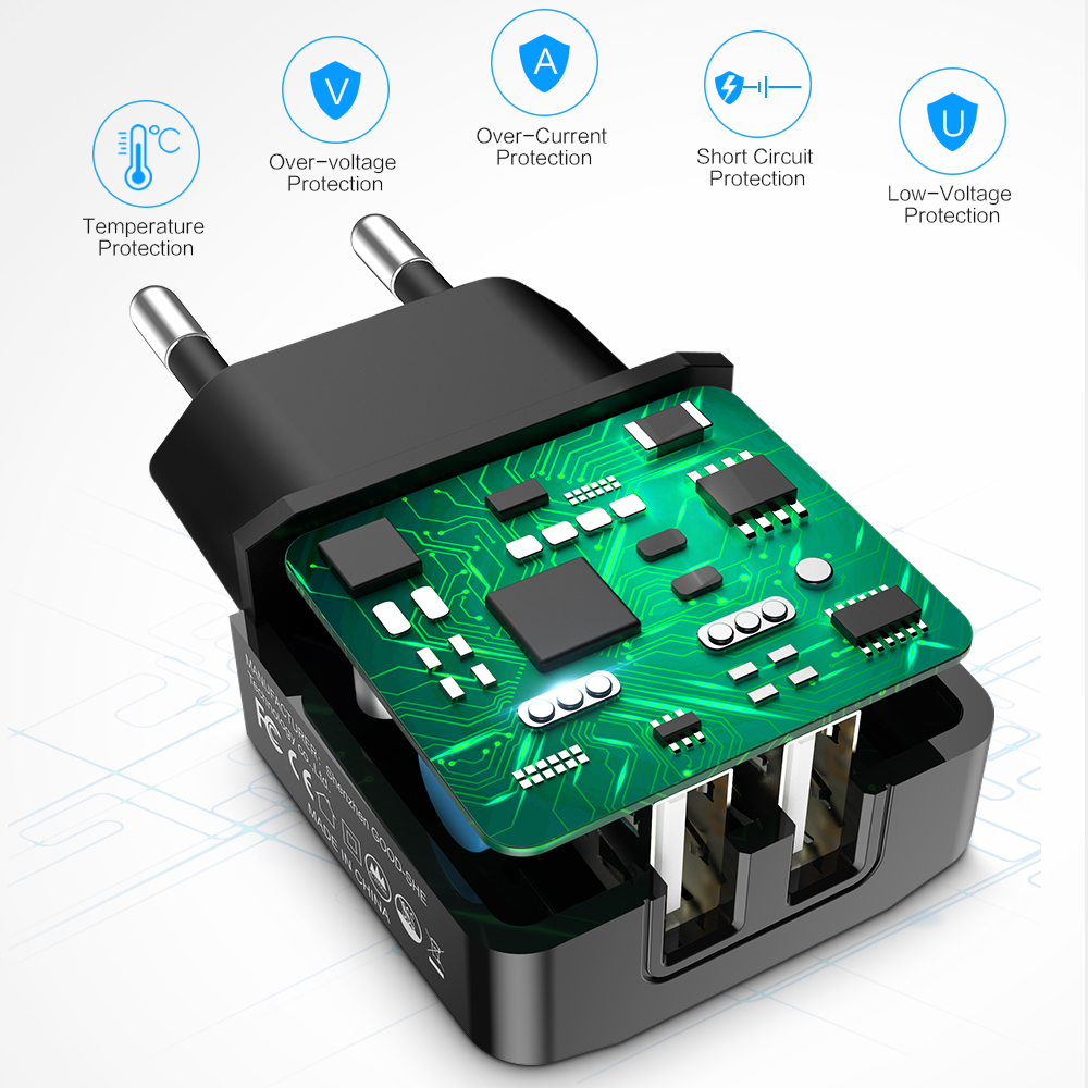 Raxfly Dual Usb Charger Eu Plug Travel Wall Mobile Phone Adapter 2 Circuit Diagram Ports Charging For Iphone X 7 Plus Xiaomi Samsung S9 S8