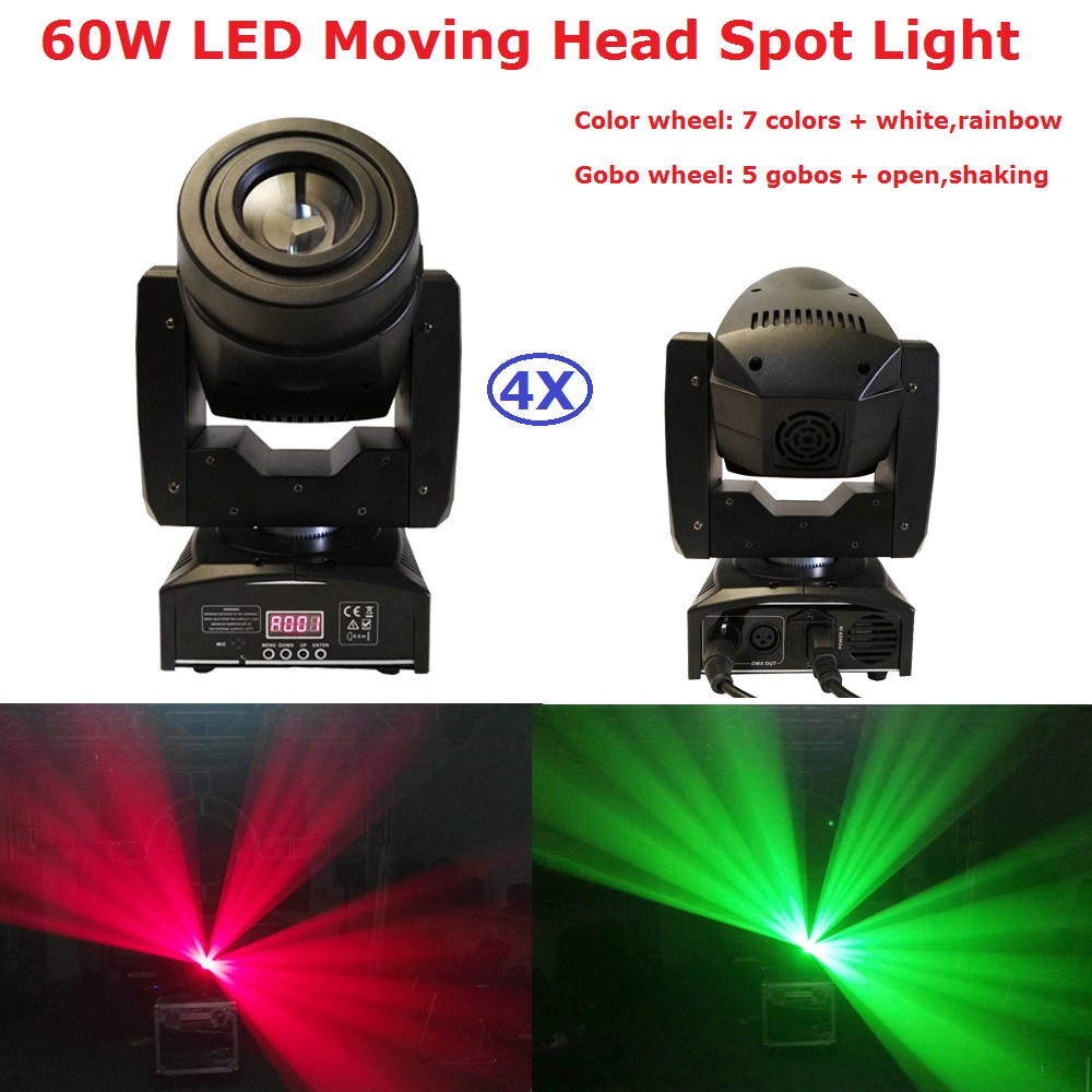 4XLot Factory Price LED Moving Head Beam Lights High Quality 60W LED Moving Head Spot Light With 4/15 channels Fast Shipping 8pcs lot free shipping best lighting led moving head spot led 90w moving heads factory price