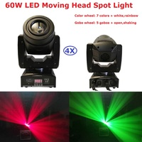 4XLot Factory Price LED Moving Head Beam Lights High Quality 60W LED Moving Head Spot Light With 4/15 channels Fast Shipping
