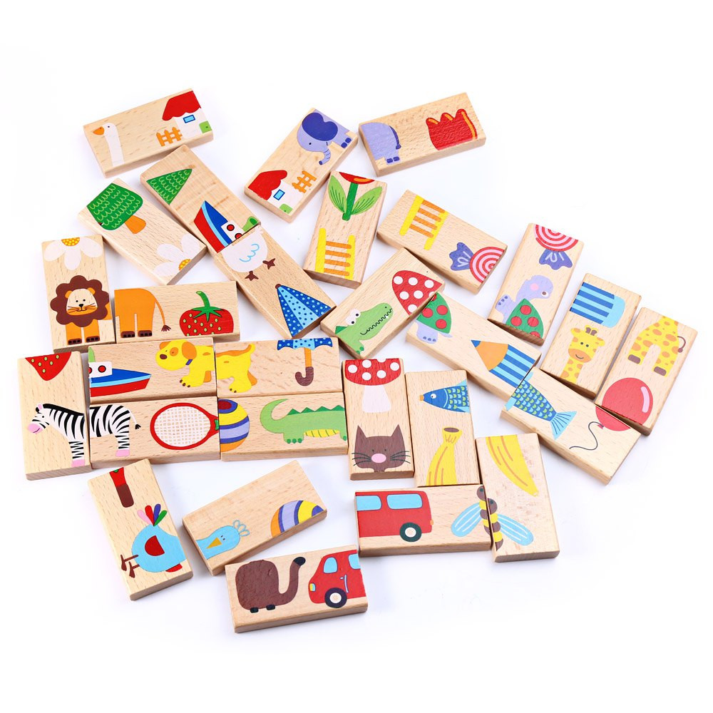 28pcs Domino Building Blocks Kids Cartoon Animal Image Colored Assembling Blocks Baby Educational Toys For Children Special Gift