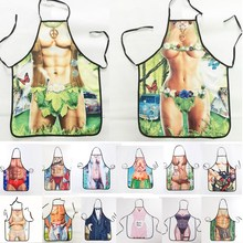 1Pcs Fashion Sexy Man Women Muscle Printed Apron Bibs Home Cooking Baking Party Funny Cleaning Aprons Kitchen Accessories 46094