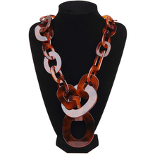 BOJIU New Fashion Long Large Chain Necklaces For Women Boho Brown Turtle Acrylic Necklaces Hot Female Jewelry Accessories NK1006