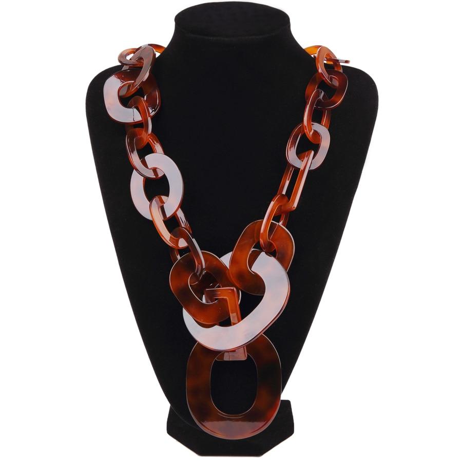 New Fashion Chain Collane lunghe Girocollo marrone Collane in - Bigiotteria