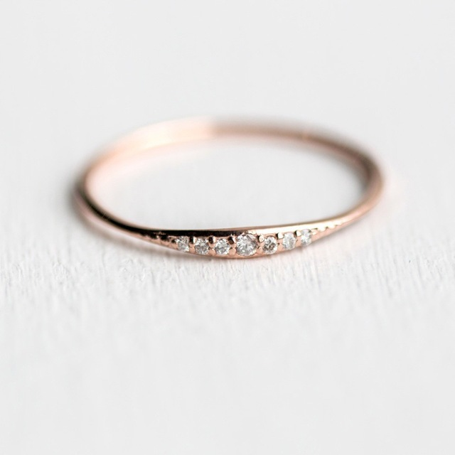 Rose Gold Engagement Rings For Women Female Mini Crystal Ring Simple
