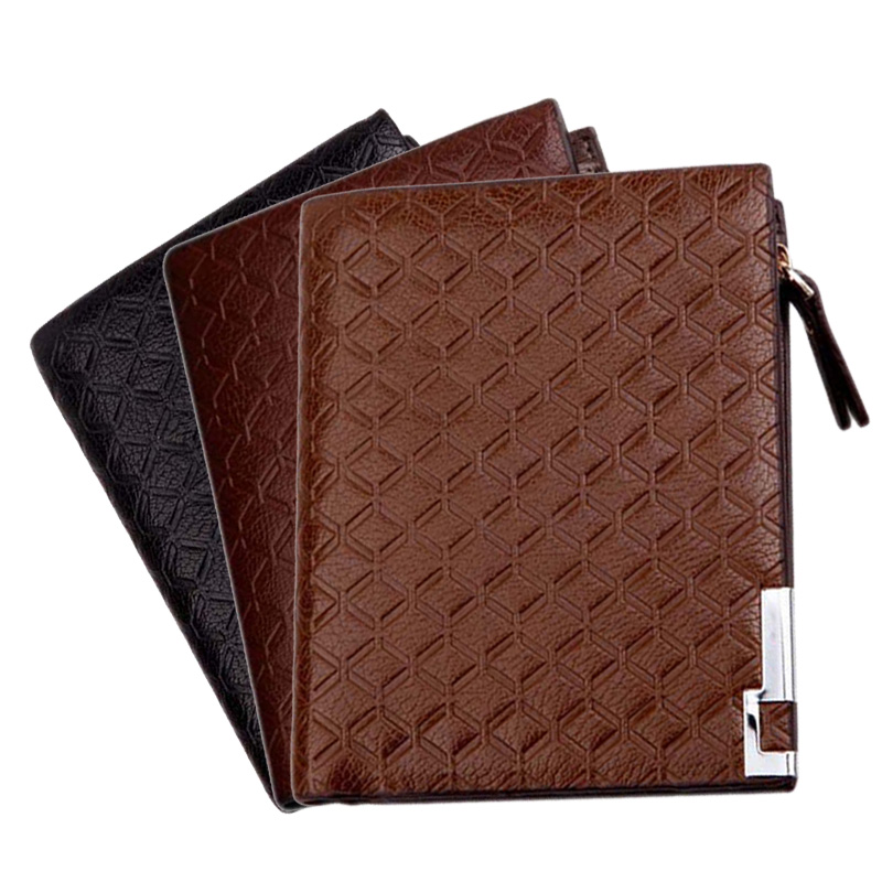 New Fashion Multifunction Business Man Wallets PU Leather Zipper Business Wallet Card Holder Pocket Purse Plaid Pounch LT88