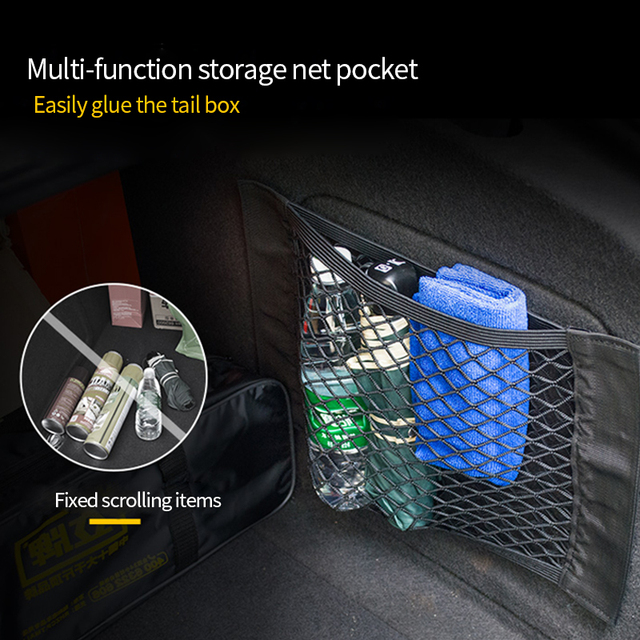 Mesh Trunk Car Organizer Net goods Universal Storage Rear Seat Back Stowing Tidying Auto Accessories Travel Pocket Bag Network