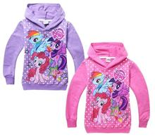 Retail Hot Girl Hoodies Clothing Spring Hoody Girls Children Outerwear Cartoon Little Pony Horse Jackets Coat for 3-10y in stock