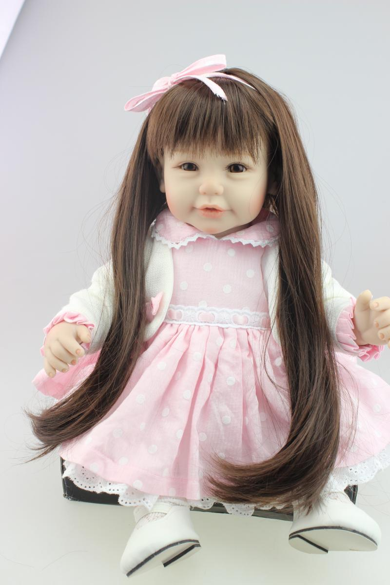 New 52cm silicone reborn baby dolls real girl brown long hair pink dress  bebe alive bonecas girls toys