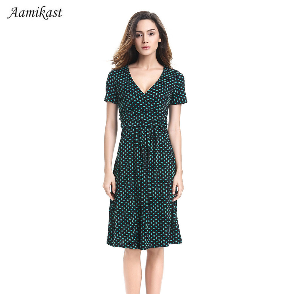 84f9adc999bc women Dresses New Fashion 2018 Summer Dress Elegant Plus Size V-neck Short  Sleeve Dot