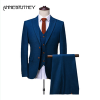 2018 hot sell Latest Coat Pant Designs Men Suit Blue Marriage wedding Prom Tuxedo Style Groom Blazer 3 Piece Terno Masculino