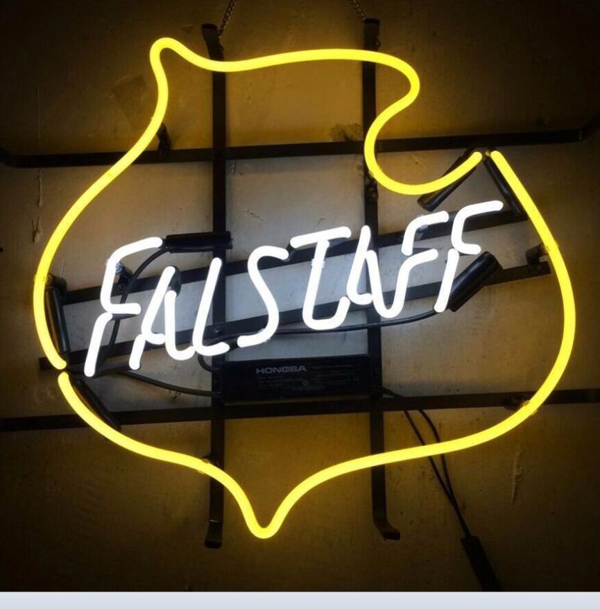 Custom Falstaff Vintage Glass Neon Light Sign Beer Bar