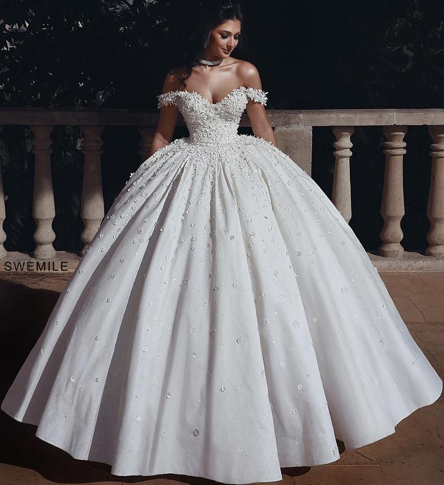 Sexy Backless Wedding Dresses 2019 Elegant Flowers Appliques Long Bride Dresses Off The Shoulder Ball Gowns Vestidos De Novia
