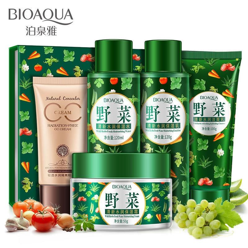 BIOAQUA Wild Plant Fresh & Moisturizing Set Skin Care Nourishing Anti-aging Brightening Cleanser, Toner, Lotion, Cream, CC Cream chanel 5ml cc cc cream