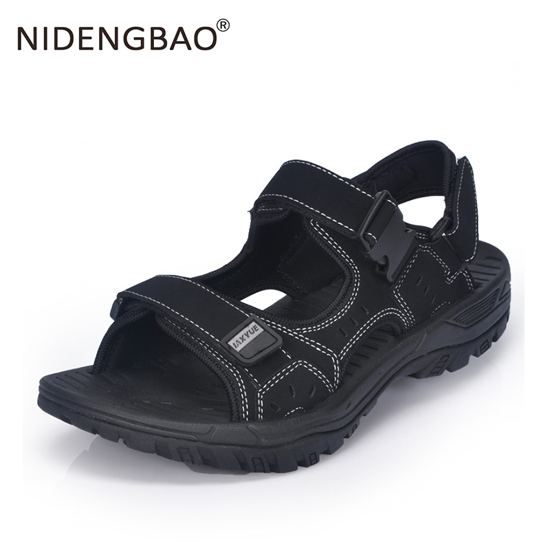 Summer Men Beach Sandals Big Size 47 Men Sport Shoes Breathable Black Light Outdoor Waterproof Leather Men Beach Slippers