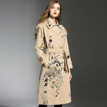 Hot fashion loose print women Trench coat 2018 Autumn elegant belted windbreaker coat Chic lady wind coat D498 недорого