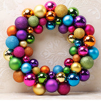 Christmas Decorations For Home 2017 Wreath 55 Balls Wreath Door Wall Ornament Garland Decoration Gifts For