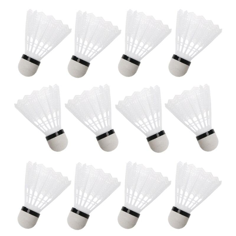 12Pcs White Badminton Plastic Shuttlecocks Indoor Outdoor Gym Sports Accessories Beginners Amateurs Badminton Supplies