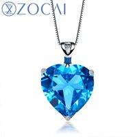 ZOCAI АВРОРА 8.0 CT Сертифицированный сердце Форма голубой топаз кулон 9 К из белого золота (au750) + 18 К золото Цепочки и ожерелья d01752