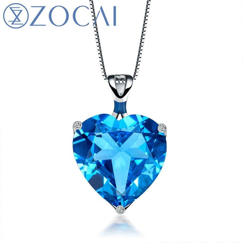 ZOCAI Aurora 8.0 CT certifié pendentif en forme de coeur topaze bleue 9 K or blanc (Au750) + collier en or 18 k D01752
