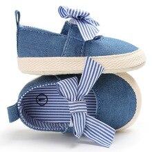 Детские туфли для принцессы для маленьких девочек; для малышей; парусиновая обувь в полоску с большим бантом; нескользящая обувь на мягкой подошве