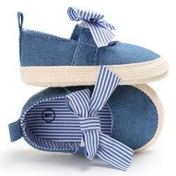 Meninas do bebê Da Princesa Shoes Infantil Criança Berço Bebe Crianças Primeiros Caminhantes Lona Listrado Grande Arco Suave Sola Anti-Slip sapatos