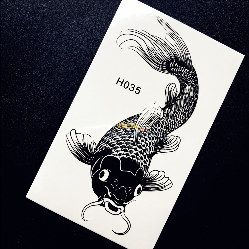 1PC Cool Black Fake Tattoo Body Art For Men Women Fish Carp Design Waterproof Arm Leg Decals Temporary Tattoo Sticker Taty HH035