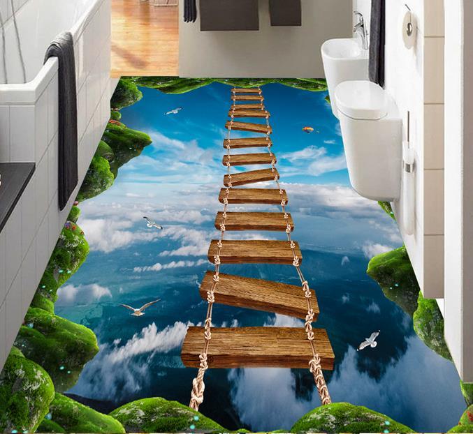 3D Floor Art Custom PVC Waterproof Self Adhesive Wallpaper Lawn Blue Sky Wooden Bridge Any Room