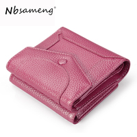 NBSAMENG Genuine Leather Women Short Trifold Wallets Mini Card Holder Purses Small Coin Purse Girls Wallet