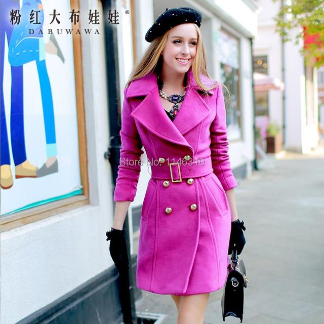 Dabuwawa 2016 brand женская шерстяное пальто осень и зиму двойной брестед куртка женщин плюс размер британский стиль розовый кукла