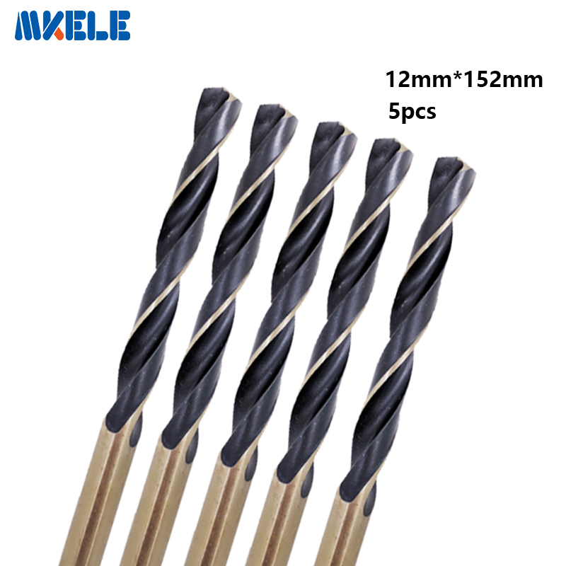 Hot 5pcs/box 12mm bits Straight Shank HSS/High Speed Steel Twist Drill Bit Woodworking Tools For Metal 13pcs set hss high speed steel twist drill bit for metal titanium coated drill 1 4 hex shank 1 5 6 5mm power tools accessories