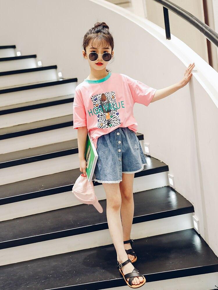 Été bambin Fille vêtements ensembles 2019 Boutique enfants vêtements rose T Shirt + Denim jupe 2 pièces enfants tenues Ensemble Fille 10