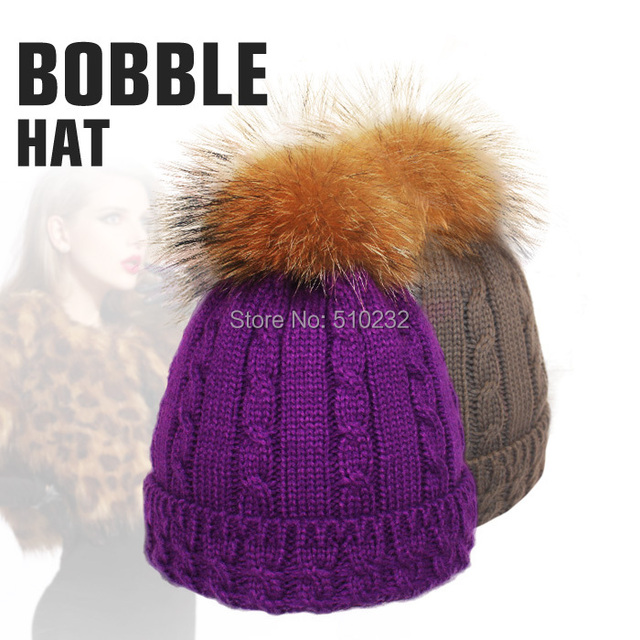 Latest 2015 Stylish Winter Hats For Women Removable Raccoon Fur Ball Top Fitted Apparel Accessories Knitted Beanie Skullies