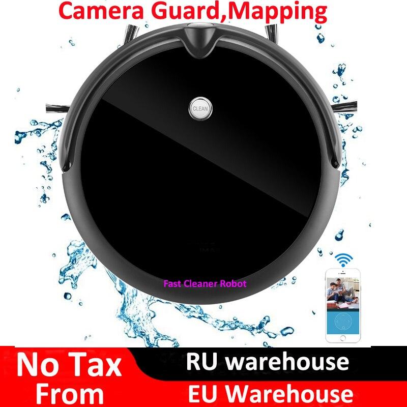 Aspirateur Robot d'appel vidéo de garde de caméra humide et sec avec Navigation sur carte, contrôle d'application WiFi, mémoire intelligente, grand réservoir d'eau