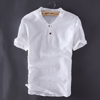 Mens Pullover Linen Short Sleeve Shirt 1