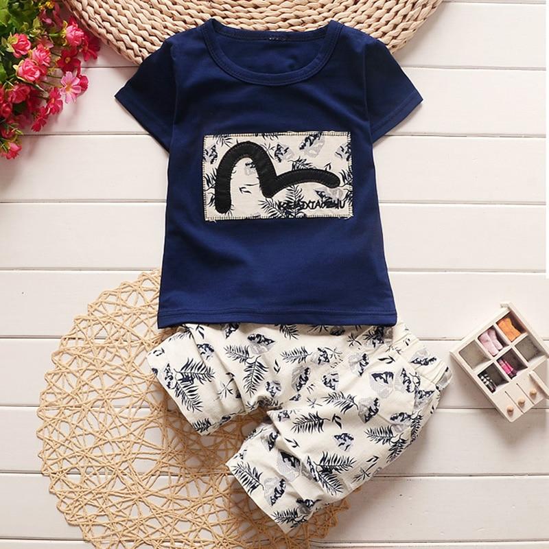 2 Pcs T-shirt+Pant Suit Cotton Fashion Outerwear Clothes Outfits Bebes Boy Cloth Summer Clothing Sets for Newborn Infant