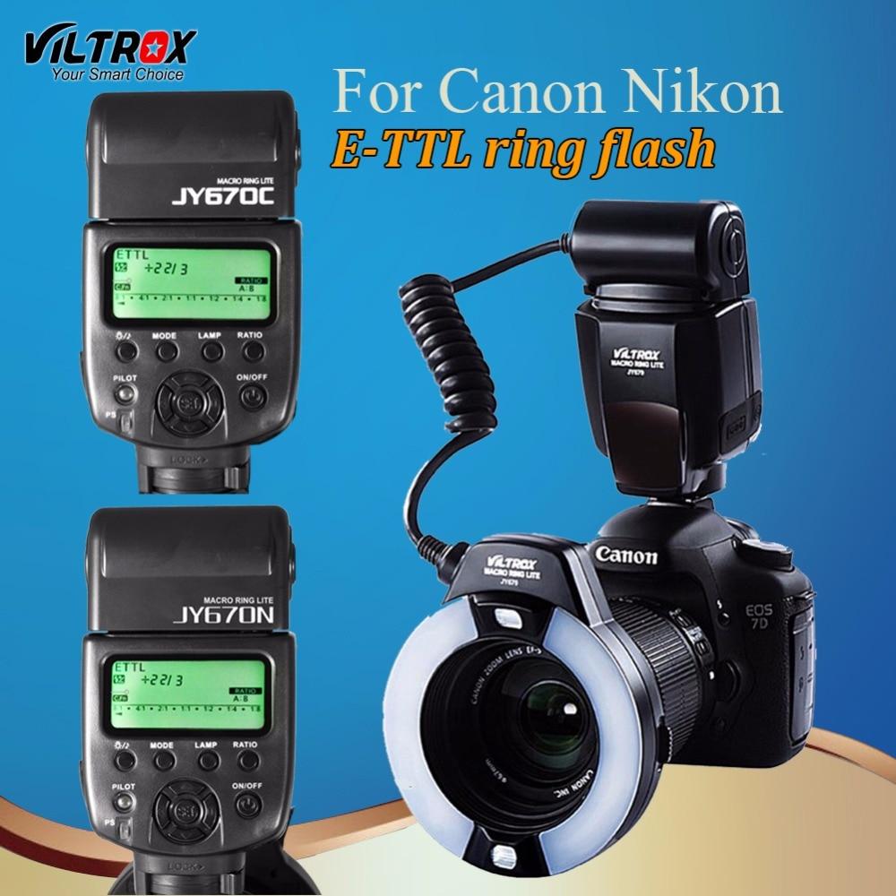 Viltrox JY-670C/N caméra LED TTL Macro anneau Flash Speedlite pour Canon 1300D 800D 77D 5D II Nikon D90 D7500 D5600 810D D5
