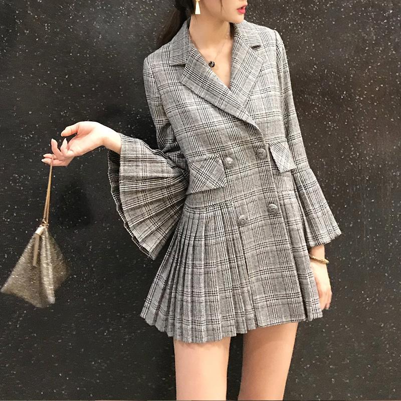 Dashing New Fashion Check Plaid Blazer Woman Notched Long Flare Sleeve Double Breasted Pleated Suit Casual Autumn Jacket Coat Outerwear