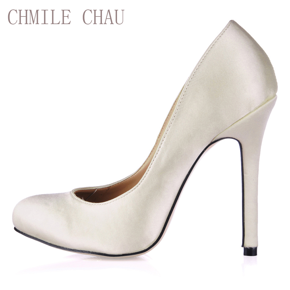 CHMILE CHAU Ivory Satin Sexy Wedding Bridal Party Shoes Women Round Toe Stiletto High Heels Ladies Pump Zapatos Mujer 0640C-a7 free shipping ep2107 ivory women s open toe stiletto high heel satin flowers pearls bridal wedding sandals
