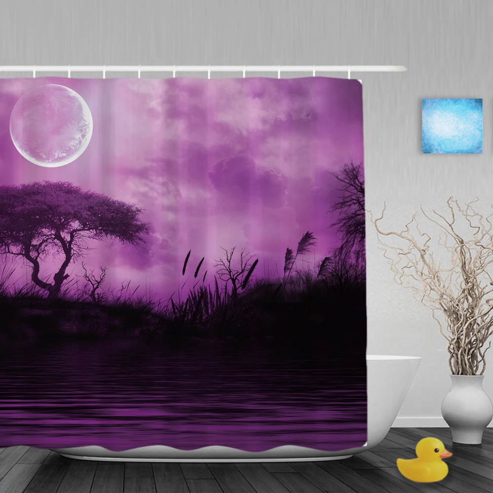 Forest Lake Fabric Home: 3D Natural Scene Shower Curtain Evening Forest Lake