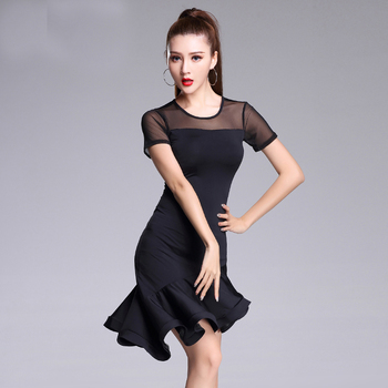Black Latin Dance skirt Woman Practice dress 2019 Performance Short-sleeve dance dresses - discount item  5% OFF Stage & Dance Wear