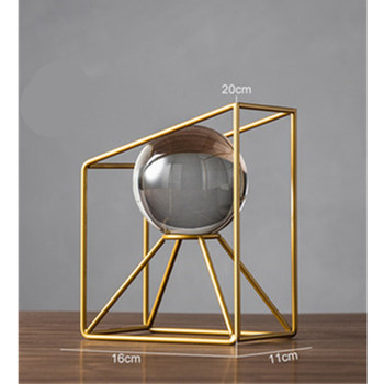 Modern Geometry Golden Stainless Steel Glass Ball Book File Creative Home Living Room Study Room Europe Ornament Decor M1489