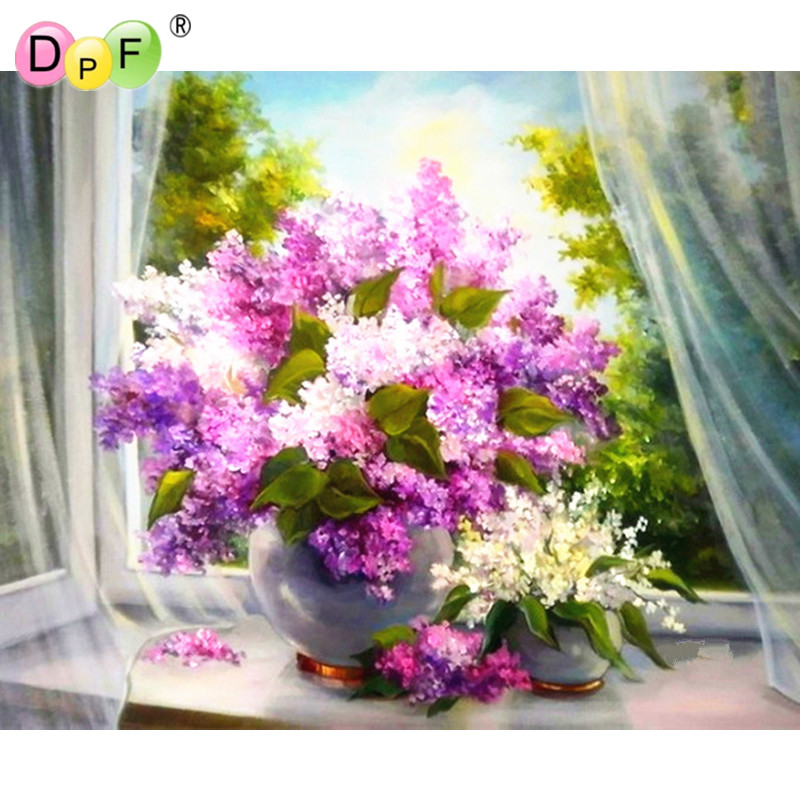 Floral 3D DIY Diamond Embroidery Painting Elegant lilacs Cross Stitch square Full Mosaic dill Crafts Kits Home Decor picture