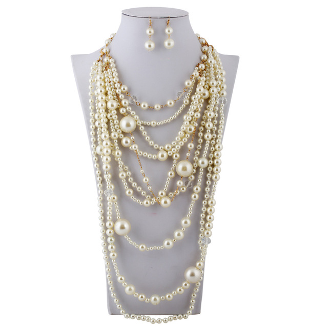 754088568 European Fashion Multi Layer Extravagant Beads Strand Pearls Crystal  Necklace and Earrings Pearl Jewelry Sets Women Duftgold