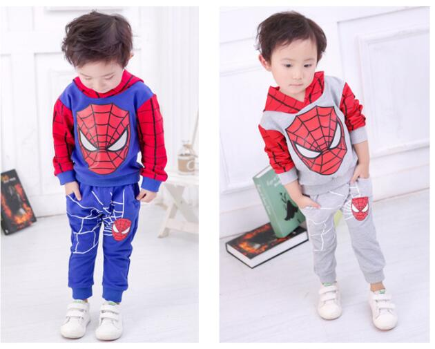 New Years' Spiderman Baby Boys Clothing Sets Cotton Sport Suit For Boys Clothes  Spider Man Cosplay Costumes KIds Clothes Set 2 piece set new sport suit for boys cotton baby boy clothing sets hooded kids clothes set long suit boys clothes tracksuit tz001