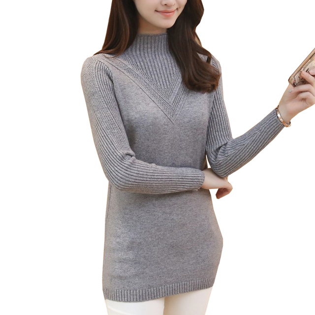 de67c3101 Women Pullovers 2018 New Korean Cashmere Slim Long Pullover Sweaters  Fashion Solid Turtleneck Female Knitted Tops Knitwear Mujer