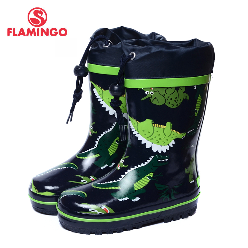 FLAMINGO branded 2017 new collection spring-autumn fashion gumboots with wool quality anti-slip kids shoes for boys 71-HL-0014 стоимость