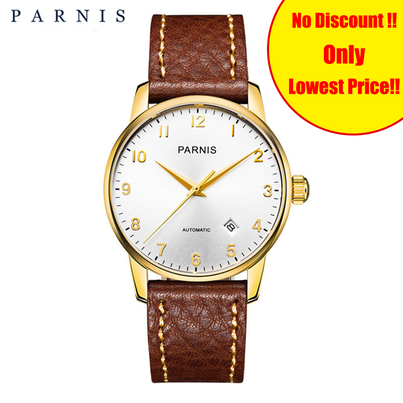 36mm Parnis Men Mechanical Watches Genuine Brown Leather Sapphire Gold Case Mens Automatic Self Winding Wrist Watch Man Clock36mm Parnis Men Mechanical Watches Genuine Brown Leather Sapphire Gold Case Mens Automatic Self Winding Wrist Watch Man Clock