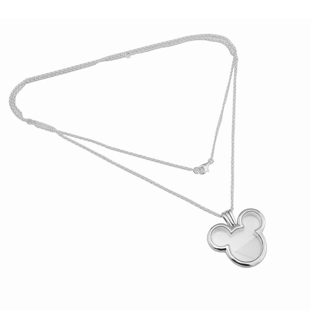Pandulaso Mouse Head Locket Europe Clear CZ Necklace Women 925 Sterling Silve For Women Fashion Jewelry Floating Locket