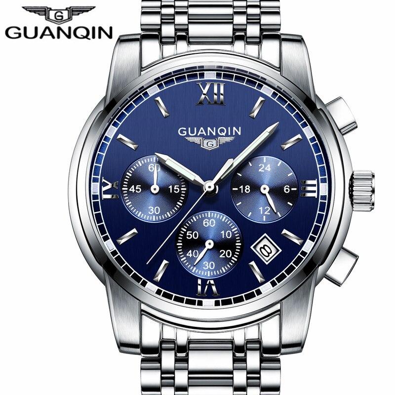 2016 mens montres haut marque de luxe GUANQIN Trois cadran travail acier inoxydable Étanche Lumineux hommes de montres à quartz-montre hommes